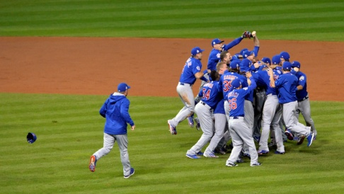 Nov 2, 2016; Cleveland, OH, USA; Chicago Cubs players celebrate on the field after defeating the Cleveland Indians in game seven of the 2016 World Series at Progressive Field. Mandatory Credit: David Richard-USA TODAY Sports     TPX IMAGES OF THE DAY      - RTX2RNEI
